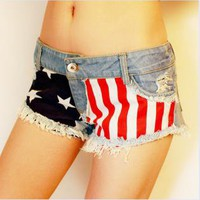 Jeans Shorts with US Flag kB002