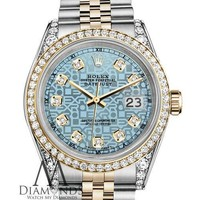 Unisex Rolex 36mm Datejust 2 Tone Jubilee Ice Blue Logo Diamond Dial Watch