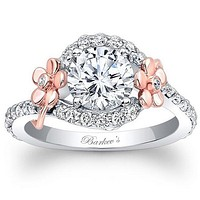 Barkev's Floral Detailed Halo Diamond Engagement Ring