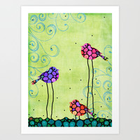 Three Birds - Spring Art By Sharon Cummings Art Print by Sharon Cummings
