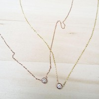 Diamond Opal Gold Necklace Dainty Jewelry Handmade