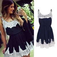 Summer Sexy Women Casual Spaghetti Strap White Lace Patchwork Dark Navy Chiffon Evening Party Cocktail Short Mini Dress [8384176775]