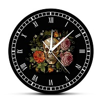 Tattooed Skull Roses Wall Clock