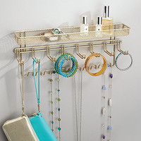 mDesign Wall Mount Jewelry, Necklace, Earring, Watch Accessory Organizer, Pearl Gold