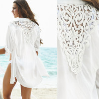 HOT! Fashion Swimwear Bikini Beach Cover Up Women, Crochet Swimsuit Cover Up Beach Wear, White Chiffon Bathing Suit Cover Ups
