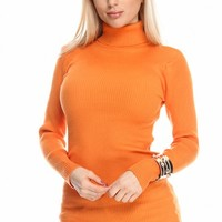 ORANGE RIB KNIT TURTLENECK LONG SLEEVE PULLOVER SWEATER