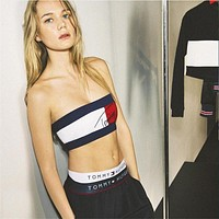 """""""Tommy Jeans"""" Personality Fashion Multicolor Letter Print Sleeveless Strapless Women Crop Tops Vest"""