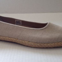 LIz Claiborne Shoes Womens Size 8.5 M Samba Flats Sz 8 1/2 Tan Canvas Espadrille