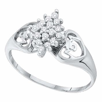 14kt White Gold Women's Round Prong-set Diamond Cluster Heart Mom Ring 1/6 Cttw - FREE Shipping (US/CAN)