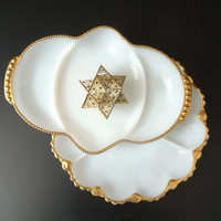 Two Vintage Milk Glass Party Plates with Gold Trim, Fire King, Party Platter, Wedding Table Decor