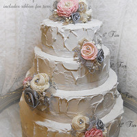 Petal Pink & Silver Cake Topper Picks, Set of 4, includes ribbon for tiers. Handmade of sola flowers and rolled ribbon roses. Ready to Ship!