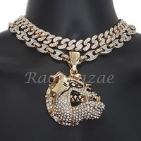 "Iced Out Anchor Bull Dog Charm 16"" Iced Out Choker 18"" Puffed Gucci Chain Set 55"