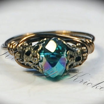 Lord of the Rings, Game of Thrones, Night Fury, Toothless, Teal Dragon - Teal Czech Glass Neo Victorian Ring custom size