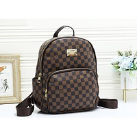 LV Louis Vuitton Fashion Woman Leather Daypack School Bag Shoulder Bag Backpack Coffee Tartan