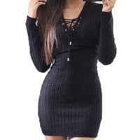 Long Sleeve Lace Up Knitted Bodycon Party Dresses Sexy Womens Ladies Jumper Dress Pencil Mini Slim Women Clothing Vestidos