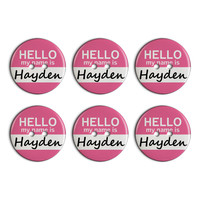 Hayden Hello My Name Is Plastic Resin Button Set of 6