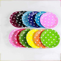 10pcs Dot Paper 7 inch/9 inch Tableware Festival Color Paper Tray Plates