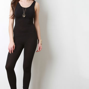 Sleeveless Scooped Back Bodycon Jumpsuit