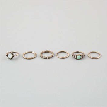 Full Tilt 6 Piece Mint/Rhinestone Stackable Rings Gold  In Sizes