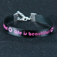 Life is beautiful' bracelet by MarianneDenis on Etsy