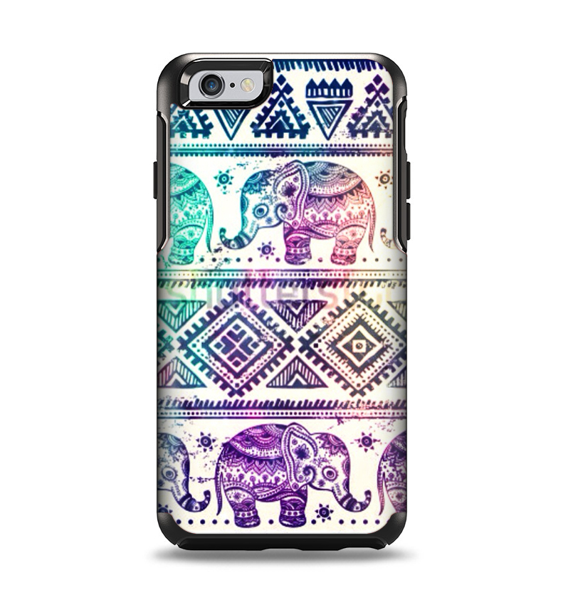 Image of The Tie-Dyed Aztec Elephant Pattern Apple iPhone 6 Otterbox Symmetry Case Skin Set