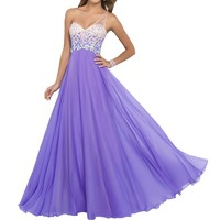 Harshori One Shoulder Open Back A-Line Chiffon Gown Prom Dress