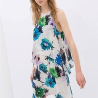 ZARA FLORAL PRINTED ECRU GREEN LAYERED TIERED DRESS SIZE S SMALL REF 2542/103