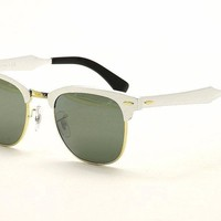 Ray Ban Clubmaster Aluminum RB3507 3507 137/40 Brushed Silver Rayban Sunglasses