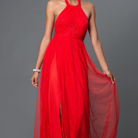 Red Lace Halter Floor Length Dress with Bow