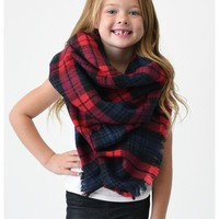 Girls Plaid Blanket Scarf, Red-Navy