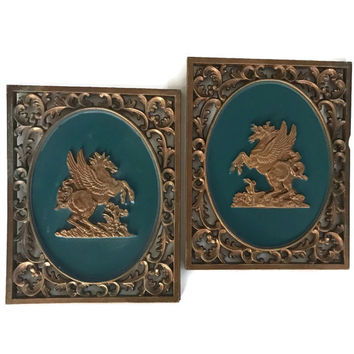Mid Century Turner Wall Plaques Hollywood Regency Home Decor Vintage Winged Horse Matching Pair