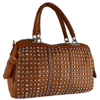 Glamorous Studded and Rhinestone Satchel Bag Fashion Purse Tan