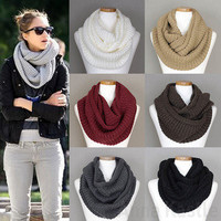 Annakastle New Womens Double Wrap Circle Ring Chunky Knit Infinity Scarf