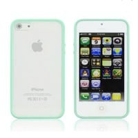 iPhone 4 & 4S Hybrid Bumper Case, ANLEY Candy Trim Series - [1.5mm Slim Fit] [Shock Absorption] Jelly Silicone Bumper with Frosted Clear Hard Back Cover for Apple iPhone 4 & 4S (Mint Green) + Free Ultra Clear Screen Protector Film