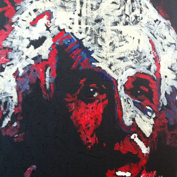 Red White and Blue Pop Art Painting 16x20, Albert Einstein, Einstein Art, Science Art, Medium Canvas Art, Hipster Art, Nerd Art, Americana