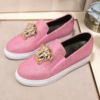 "Hot Sale ""Versace"" Slip-On Popular Women Men Casual Leather Water Drill Flat Sneakers Sport Shoes Pink I13143-1"