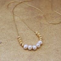 Freshwater pearl bead necklace, 14K gold filled chain, 4MM natural freshwater pearl beads, 3MM gold plated beads, spring wedding