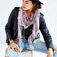 Tapestry Fringe Square Scarf - Red Multi One