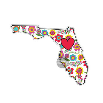 Floral Florida State Decal - Colorful Flower FL Bumper Sticker Red Heart Cute State Laptop Decal Pink Green Yellow Blue