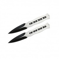 "7.5"" Set of 2 Two-Toned Throwing Knives (Black/Chrome)"