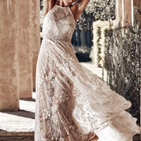 Chic White Wedding Day Ball Backless Party Lace Maxi Dress
