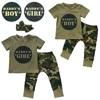Army Green Daday's Boy/Girl Newborn Baby Boys Girls T-shirt Tops Pants Outfits Set Clothes