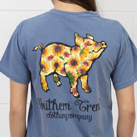 Sun Flower Print Proud Pig Short Sleeve Tee {Blue Jean}