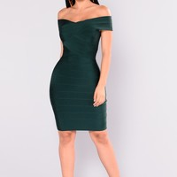 Cross My Body Dress - Hunter Green