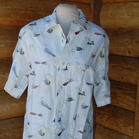 Nat Nast Luxury Originals linen shirt. Fishing lures. NWT.