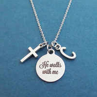 Personalized, Letter, Initial, He walks with me, Cross, Silver, Necklace, Birhtday, Best friends, Sister, Gift, Jewelry