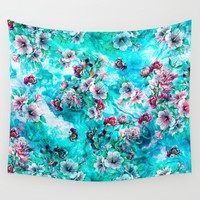 Floral Ocean II Wall Tapestry by Valentinasevza