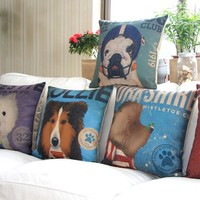 """MagicPieces Cotton and Flax My Cute Dog E Decorative Pillow Cover Case 18"""" x 18"""" Square Shape-dogs-pet-cute-animal lover-men's best firend"""