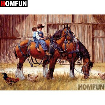 5D Diamond Painting Two Boys on a Horse Kit