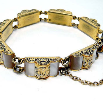 Vintage Damascene Bracelet with Mother of Pearl accents